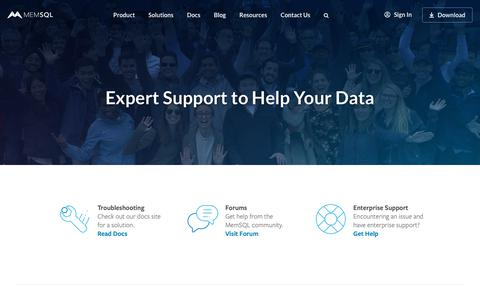 Screenshot of Support Page memsql.com - MemSQL Support, Training, and Professional Services - captured Nov. 7, 2018