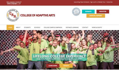 Screenshot of Home Page collegeofadaptivearts.org - College of Adaptive Arts - captured July 8, 2018