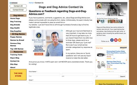 Screenshot of Contact Page dogs-and-dog-advice.com - Dogs and Dog Advice Contact Us - captured April 13, 2017