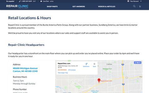 Screenshot of Locations Page repairclinic.com - Contact Repair Clinic & Repair Experts | RepairClinic.com - captured Dec. 7, 2018