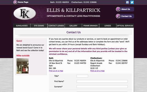 Screenshot of Contact Page ellisandkillpartrick.com - Ellis & Killpartrick Optometrists - Eye Exams - Cheltenham, Bristol - captured Nov. 10, 2018