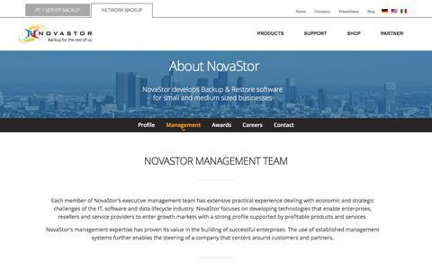 Screenshot of Team Page novastor.com - Company Management Team | NovaStor - captured March 15, 2017