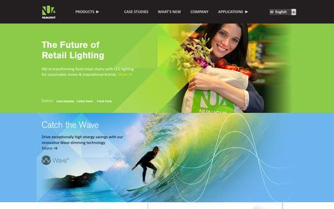 Screenshot of Home Page nualight.com - Nualight - LED lighting company in the world that specialises exclusively in food retail displays - captured Sept. 17, 2014