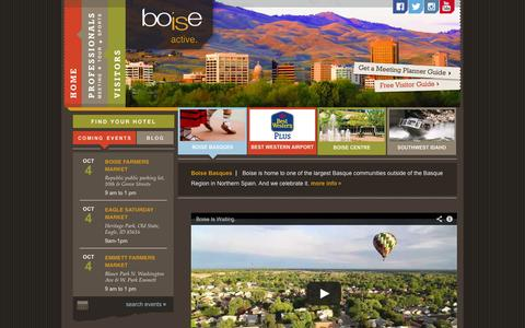 Screenshot of Home Page boise.org - Boise Convention & Visitors Bureau :: meetings, sporting events, tourism information - captured Oct. 5, 2014