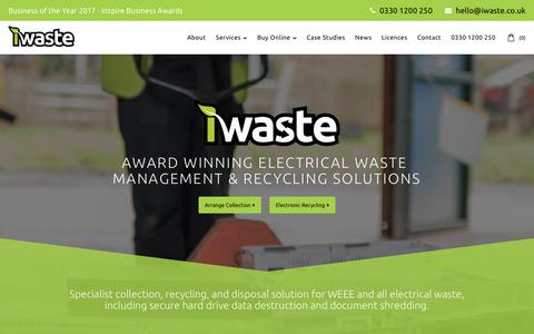 Screenshot of Home Page iwaste.co.uk - iWaste | Electronic Recycling Company | WEEE Recycling Company | WEEE Management - captured Oct. 12, 2018