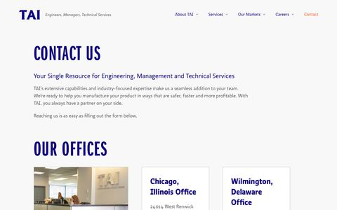 Screenshot of Contact Page taiengineering.com - Contact - TAI Engineering - Engineers, Managers, Technical Services - captured Sept. 21, 2018