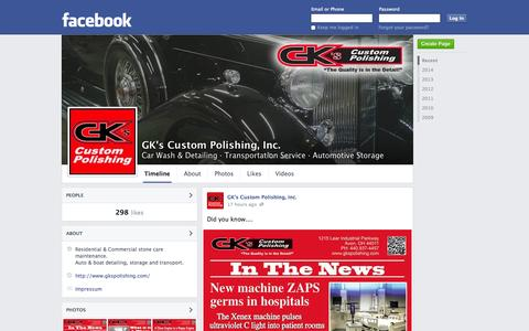 Screenshot of Facebook Page facebook.com - GK's Custom Polishing, Inc. - Avon, Ohio - Car Wash & Detailing, Transportation Service   Facebook - captured Oct. 22, 2014