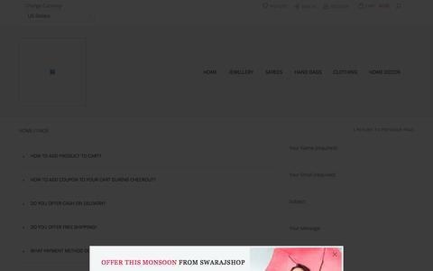 Screenshot of FAQ Page swarajshop.com captured Oct. 26, 2014
