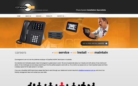 Screenshot of Jobs Page convergecom.com.au - ConvergeCom | Avaya Business Partner - captured Dec. 10, 2015