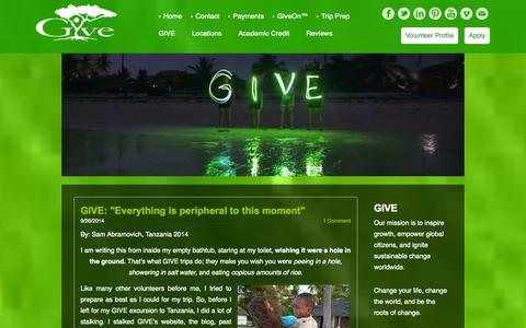 Screenshot of Blog givevolunteers.org - Growth International Volunteer Excursions - GIVE - Blog - captured Oct. 3, 2014