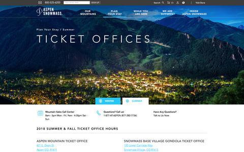 Screenshot of Hours Page aspensnowmass.com - Summer Ticket Hours - captured Sept. 19, 2018