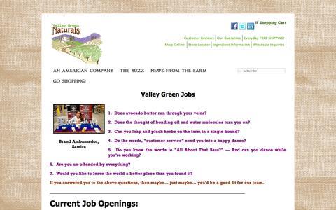 Screenshot of Jobs Page valleygreennaturals.com - Jobs «  Valley Green Naturals - captured Oct. 27, 2014