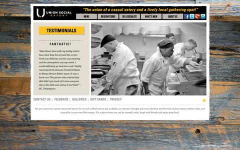Screenshot of Testimonials Page unionsocial.ca - Testimonials | Union Social Eatery - captured Oct. 6, 2014