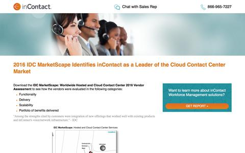 Screenshot of Landing Page incontact.com - 2016 IDC Marketscape: Worldwide Hosted and Cloud Contact Center 2016 Vendor Assessment - captured Aug. 11, 2017