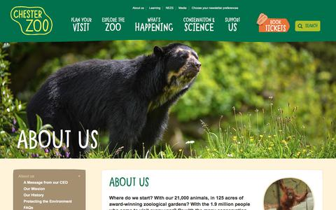 Screenshot of About Page chesterzoo.org - About Us | Chester Zoo - captured July 9, 2018