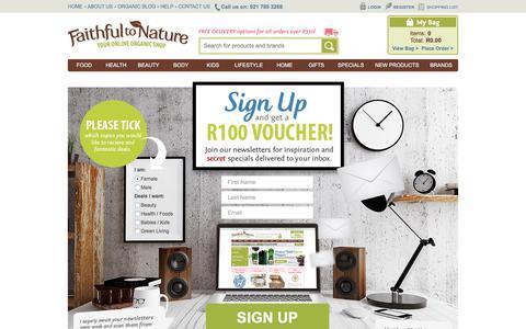 Screenshot of Signup Page faithful-to-nature.co.za - Newsletter Signup | Faithful to Nature - captured Jan. 8, 2016