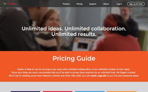 Screenshot of Pricing Page qukku.com - Pricing - captured July 25, 2018