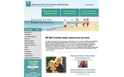 Screenshot of Home Page ahha.org - Holistic Health Resources | American Holistic Health Association - captured Oct. 14, 2015