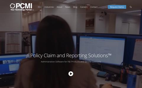 Screenshot of Home Page pcmicorp.com - Administration Software for F&I Products and Service Contracts - captured Sept. 19, 2018