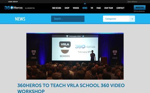 Screenshot of Press Page 360heros.com - News   360Heros   VR   Virtual Reality - captured Feb. 8, 2016