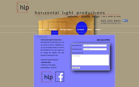 Screenshot of Contact Page horizontallight.com - Contact   Horizontal Light Productions - captured Oct. 3, 2014