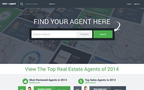Screenshot of Home Page ratemyagent.com.au - Australia's No.1 real estate agent ratings website - captured Feb. 19, 2016