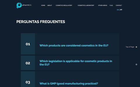 Screenshot of FAQ Page pharmilab.eu - Pharmilab | FAQ Cosmetics - captured July 17, 2018