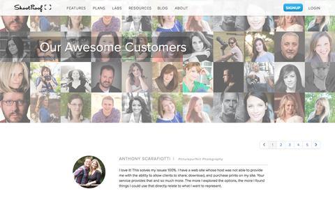 Screenshot of Testimonials Page shootproof.com - Our Awesome Customers | ShootProof - captured Sept. 18, 2014