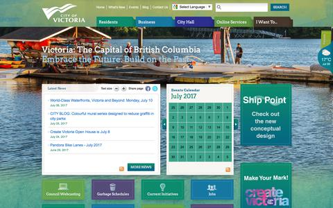 Screenshot of Home Page victoria.ca - Home | Victoria - captured July 9, 2017