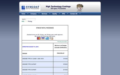 Screenshot of Pricing Page symcoat.net - Pricing Metal Coating and Processing - captured Oct. 9, 2014