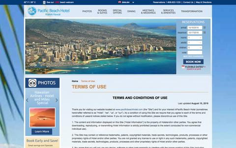 Screenshot of Terms Page pacificbeachhotel.com - Terms of Use   Pacific Beach Hotel, Waikiki - captured Oct. 17, 2016