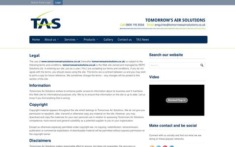 Screenshot of Terms Page tomorrowsairsolutions.co.uk - Legal - Tomorrow's Air Solutions - captured Jan. 12, 2016