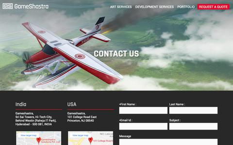 Screenshot of Contact Page gameshastra.com - Game Art Outsourcing and Game Development Studio in India - Contact Gameshastra - captured Nov. 4, 2018