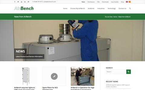 Screenshot of Press Page airbench.com - News from AirBench Ltd - captured Oct. 4, 2014