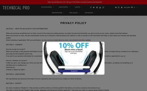 Screenshot of Privacy Page tpro.com - Technical Pro     PRIVACY POLICY – Technical Pro - captured Oct. 20, 2017