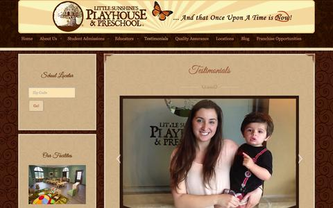 Screenshot of Testimonials Page littlesunshine.com - Family Testimonials and Reviews | Little Sunshine's Playhouse - captured Nov. 2, 2014