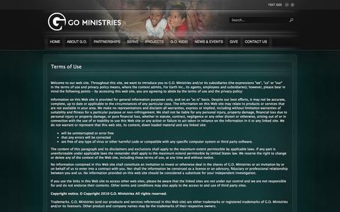 Screenshot of Terms Page go-ministries.org - Terms of Use - captured Oct. 1, 2014