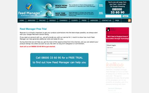 Screenshot of Trial Page feedmanagerusa.com - Feed Manager free trial to Google Shopping - captured Oct. 5, 2014