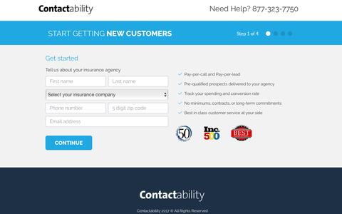 Screenshot of Signup Page contactability.com - Contactability Sign up - captured Jan. 17, 2017