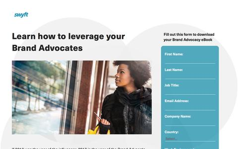 Screenshot of Landing Page monotype.com - Swyft Brand Advocates eBook - captured April 27, 2017