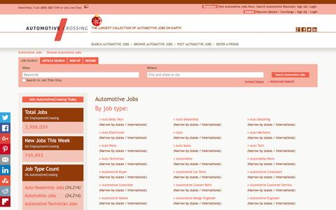 Screenshot of Jobs Page automotivecrossing.com - Automotive Jobs, Browse Jobs in Automotive By Job Type, City, State in United States   AutomotiveCrossing.com - captured Dec. 27, 2015