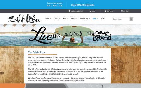 Screenshot of About Page saltlife.com - About Salt Life | Salt Life Beach Gear & Apparel - captured Oct. 1, 2015