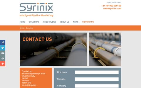 Screenshot of Contact Page syrinix.com - Contact us- Syrinix - captured Sept. 17, 2014