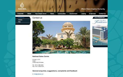 Screenshot of Contact Page nakheel.com - Contact us - captured Sept. 23, 2014