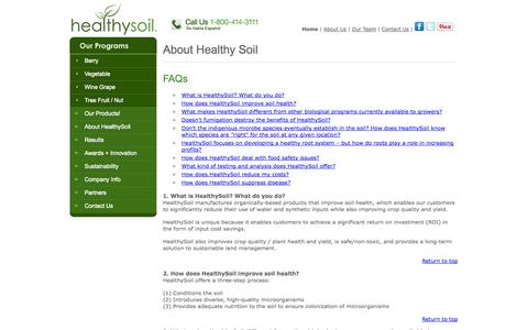 Screenshot of FAQ Page healthysoil.com - Frequently Asked Questions (FAQs) | HealthySoil® - captured Sept. 29, 2014