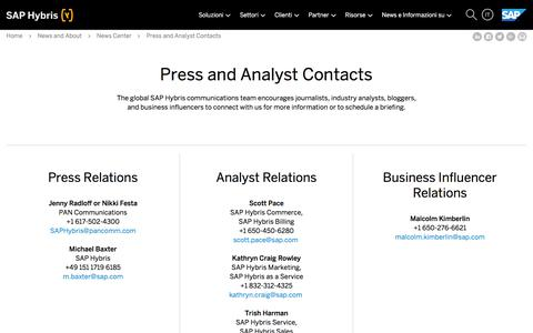 Screenshot of Press Page hybris.com - SAP Hybris contacts: press, analyst relation & more | SAP Hybris - captured Sept. 11, 2017