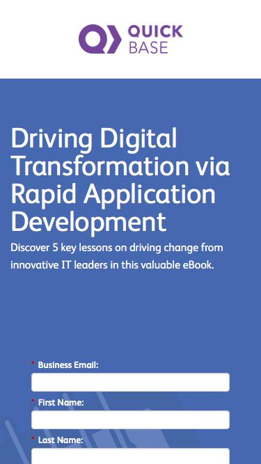 Driving Digital Transformation via Rapid Application Development eBook | QuickBase
