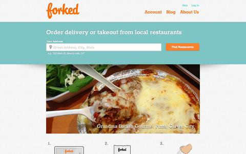 Screenshot of Home Page forked.com - FORKED | Food Delivery & Takeout from LA restaurants - captured Aug. 2, 2015