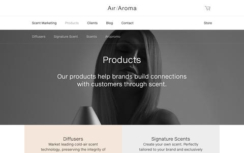 Screenshot of Products Page air-aroma.com - Products - Air Aroma - captured Sept. 28, 2018