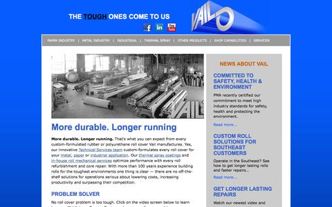 Screenshot of Home Page vailrubber.com - Vail Rubber Works, Inc. - Home - captured Oct. 7, 2014